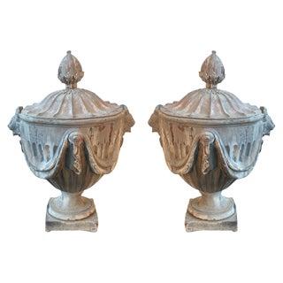 19th C. English Lead Monumental Garden Urns - A Pair