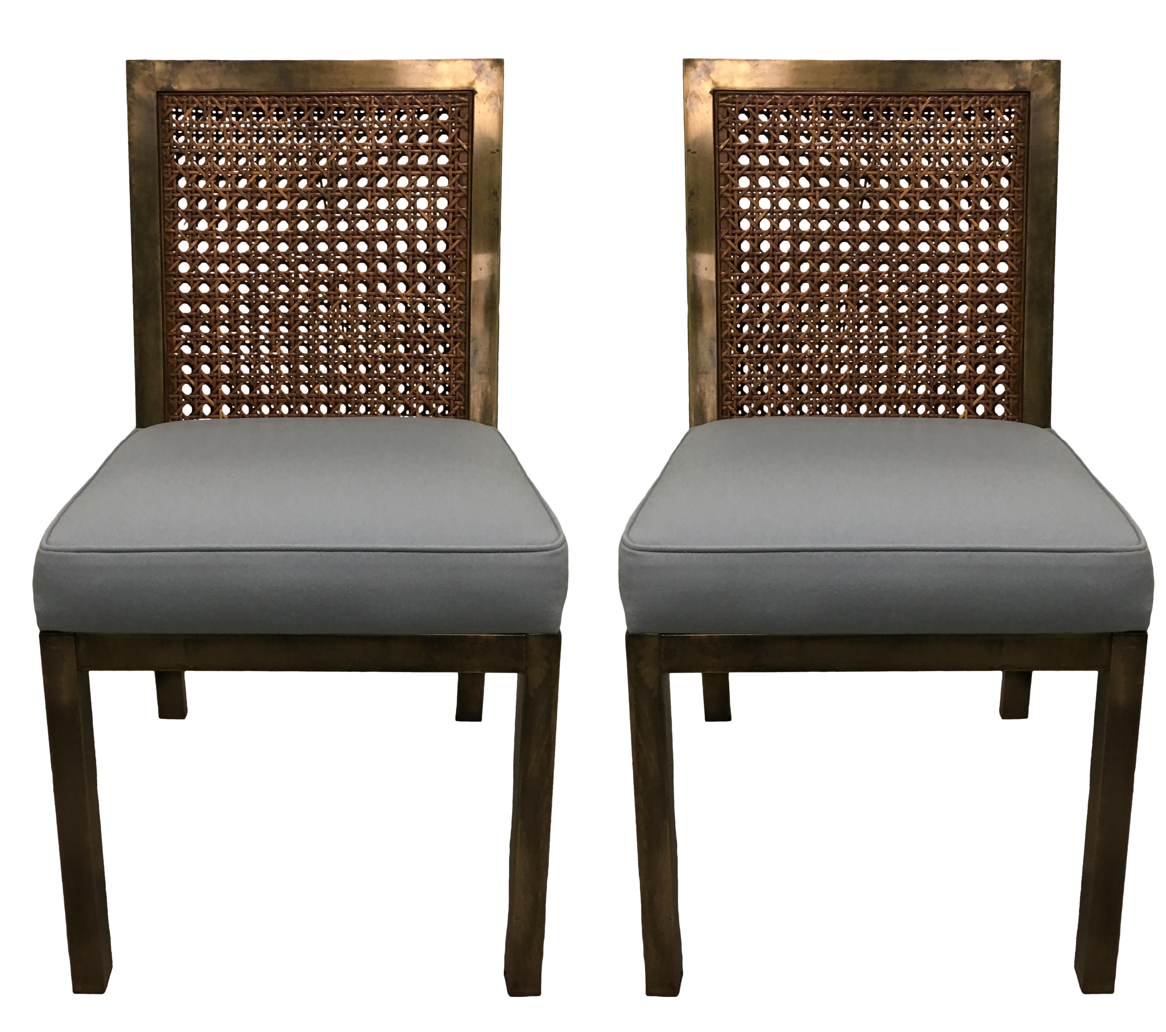 Widdicomb Brass U0026 Cane Parsons Side Chairs   A Pair