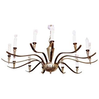 Mid 20th Century Regency Brass Chandelier For Sale