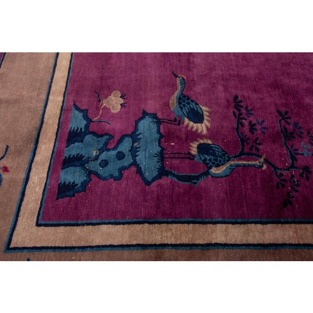 Antique Purple Chinese Mandarin Wool Rug 9 Ft 9 in X 16 Ft 3 In. For Sale - Image 4 of 11