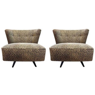 Mid-Century Modern Kroehler Swivel Slipper Chairs - a Pair For Sale