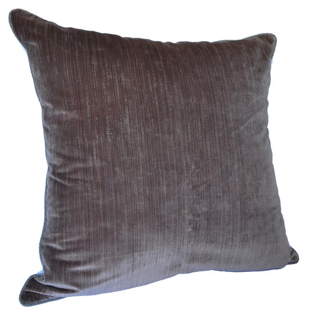 Amazingly stunning oversize 100% Stried Silk velvet Scalamandré pillow in very rare mauve color. This pillow has a...