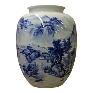 Chinese Blue & White Hand Painted Porcelain Vase For Sale