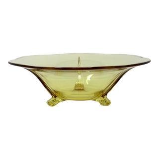 1930s Fostoria Topaz 3-Toed Glass Bowl For Sale