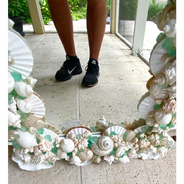 Contemporary Coastal Custom Shell and Sea Glass Mirror For Sale - Image 9 of 10