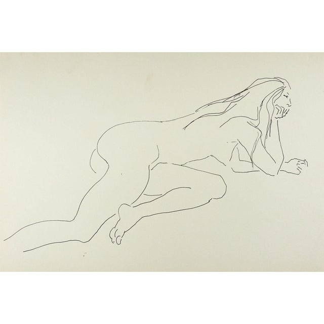 Pen and ink drawing on paper of reclining female nude study by Marilyn Lanfear (1930-2020) Texas. Unsigned. Unframed,...