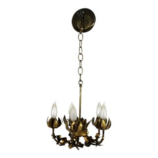 Mid-Century Modern Tom Greene Brutalist Brass Chandelier, 1960s For Sale