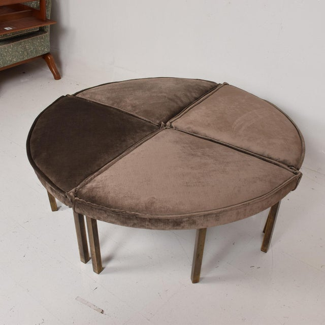 Mid-Century Modern Round Bench Stool Pizza Shape in Bronze and Velvet For Sale - Image 9 of 11