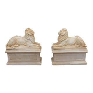 1960s Mid Century Modern Ceramic Lion Bookends - a Pair