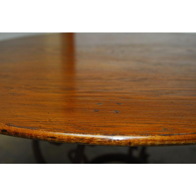 Italian Oak & Scrolled Iron Round Dining Table For Sale - Image 4 of 9