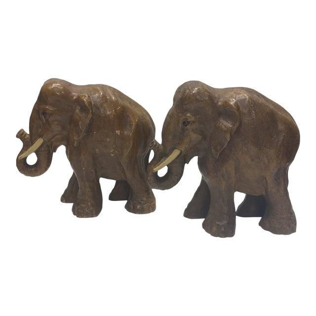 Boho Chic Wood Elephants - a Pair For Sale