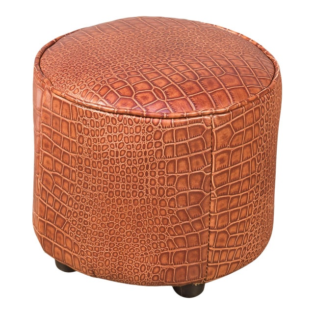 Sarreid Round Footrest, Embossed Croc Tan Leather For Sale