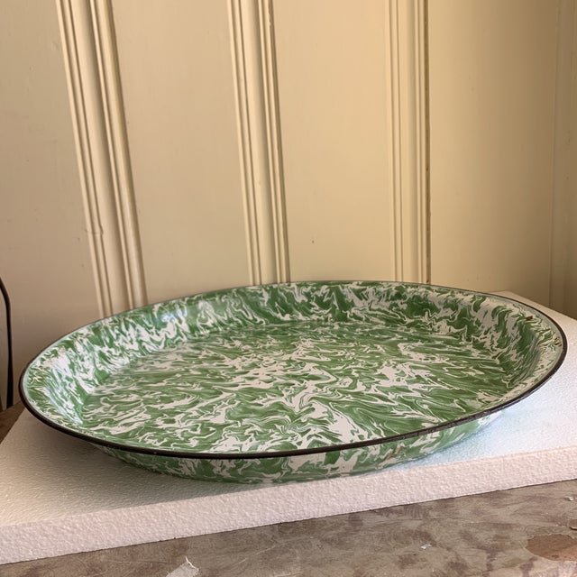 Large Enamelware Marbleized Metal Tray For Sale - Image 4 of 8