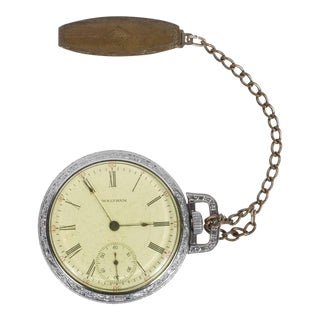 Antique Waltham Chronometer Pocket Watch with Foliate Engravings and Brass Chain For Sale