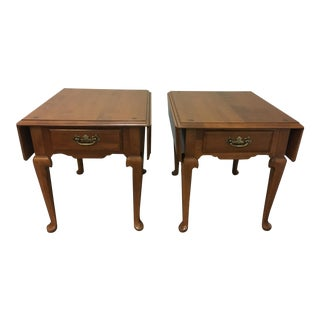 Vintage Ethan Allen Drop Leaf Side Tables - a Pair