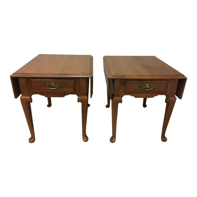 Vintage Ethan Allen Drop Leaf Side Tables - a Pair - Image 1 of 13