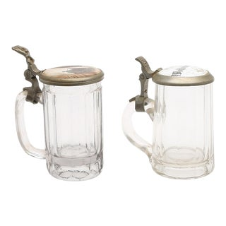 Pair of 19th Century German Glass Beer Stein For Sale