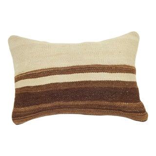 """Organic Natural Turkish Lumbar Hemp Kilim Rug Pillow 14""""x20"""" For Sale"""