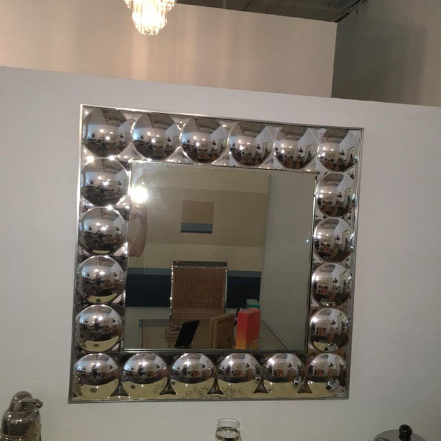 Signed Turner Mid Century Modern Silver Anodized Aluminum Molded Plastic Bubble Mirror - Image 8 of 9