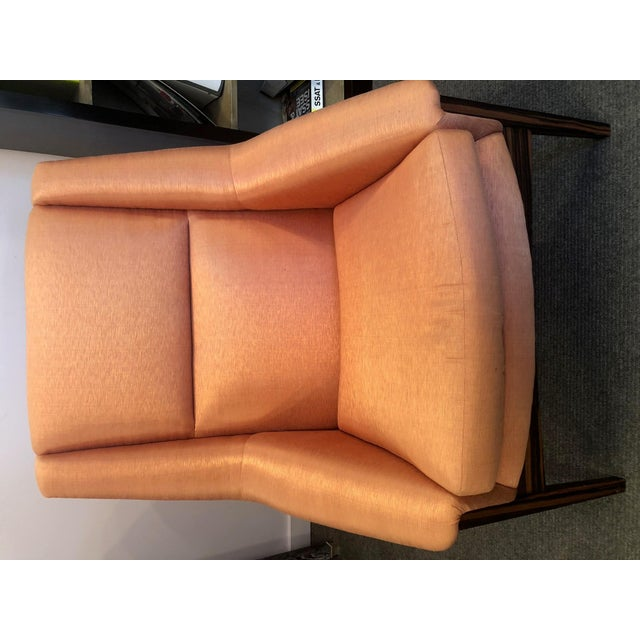 Orange Silk Upholstered Armchair For Sale - Image 9 of 13