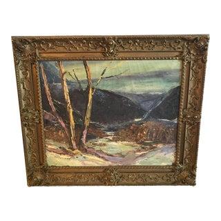 Mid 20th Century Vintage Landscape Original Oil Painting