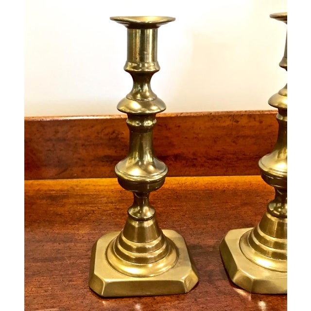 Pair 19th C. Brass Candlesticks For Sale - Image 4 of 6