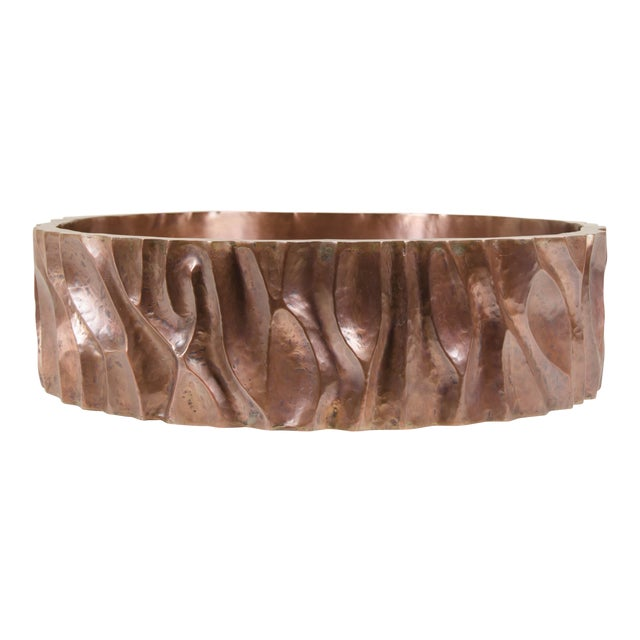Low Tree Trunk Cachepot - Antique Copper by Robert Kuo, Hand Repoussé, Limited Edition For Sale