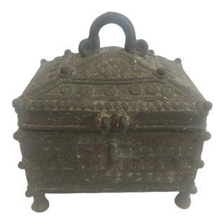 1970s Rustic Decorated Bronze Treasure Box For Sale