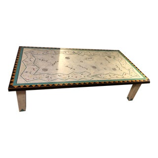Richard Kooyman Wood Carved Hieroglyphic Multicolored Coffee Table For Sale