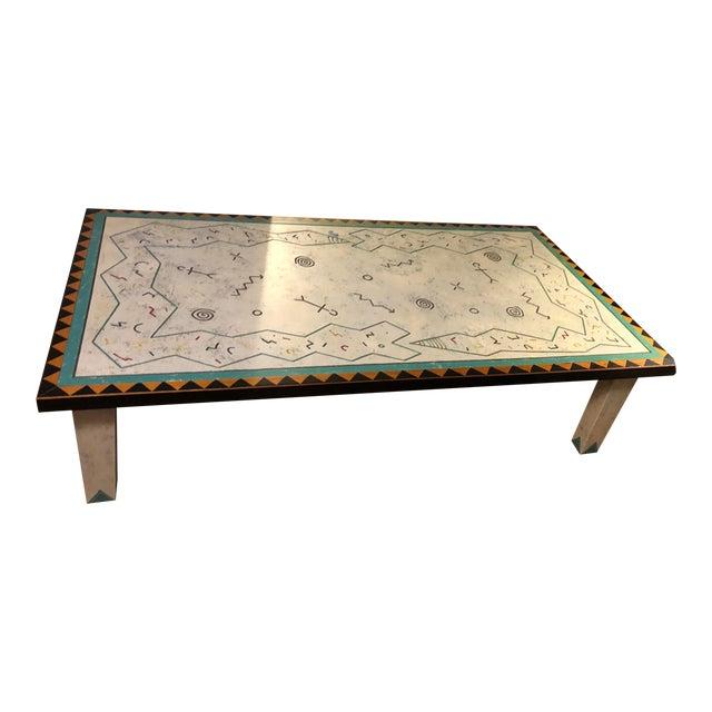 Richard Kooyman Wood Carved Hieroglyphic Multicolored Coffee Table For Sale