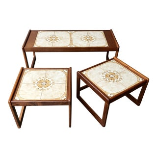 Mid Century Modern Nesting Coffee Table and End Tables - Set of 3