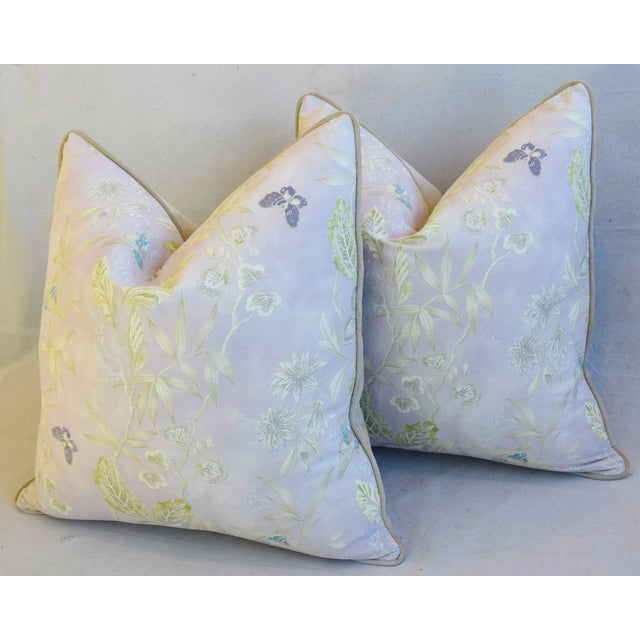 """Pale Lavender Wildflower & Butterfly Linen Feather/Down Pillows 23"""" Square - Pair For Sale - Image 9 of 13"""
