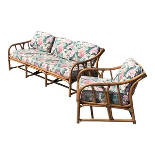 Vintage Ficks Reed Rattan Sofa & Chair Set - 2 Pc. Set For Sale