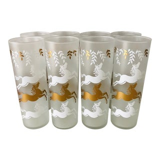Midcentury Modern 1953 Frosted Cavalcade Horses High Ball Glasses -Set of 8 For Sale