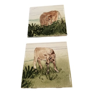 Two Hand Painted Ceramic Cow Tiles For Sale