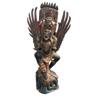 Antique Balinese Large Wood Carved Vishnu Riding Garuda Buddhist Hindu Statue