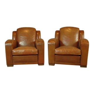 La Manche 1940s French Club Chairs - a Pair