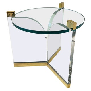 Acrylic and Brass Side Table by Charles Hollis Jones For Sale