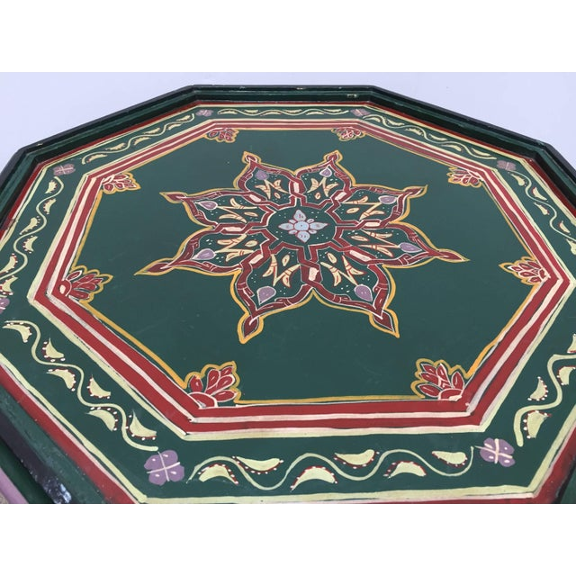 1970s Moroccan Hand Painted Table With Moorish Designs For Sale - Image 5 of 12