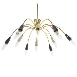 Mid-Century Modern Brass Sputnik Chandelier For Sale