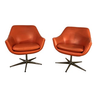 1970s Swedish Overman Style Orange Vinyl Chairs - a Pair