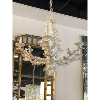 Vintage Palm Beach Tropical White Faux Coral 6 Light Chandelier Preview