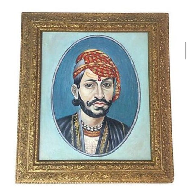 1970s Indian Maharaja Portrait Painting For Sale - Image 5 of 5