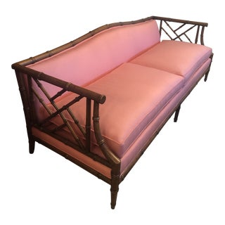 Faux Bamboo Chinoiserie Sofa For Sale