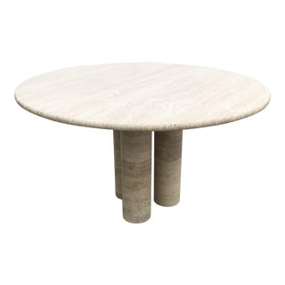 Mario Bellini Round Travertine Dining Table For Sale