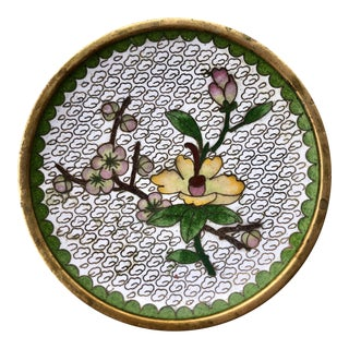 Small Cherry Blossom Enameled Brass Cloisonné Dish For Sale