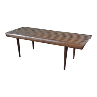 1960s Mid Century Modern Slat Bench Coffee Table For Sale