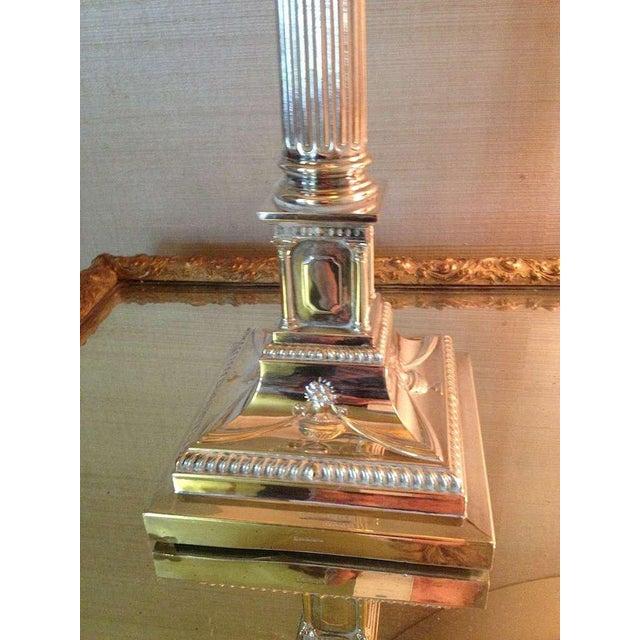 Pair of English Corinthian Column Silver Lamps - Image 6 of 8