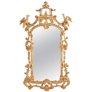 Chinese Chippendale Style Gilt Pagoda Mirror With Hoho Birds For Sale