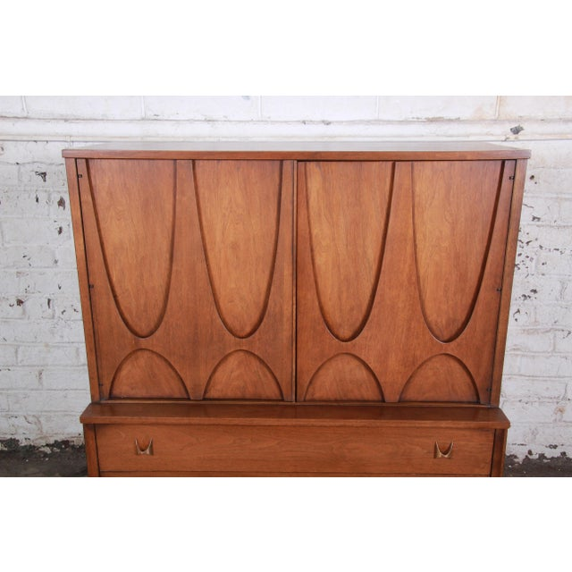 Broyhill Brasilia Broyhill Brasilia Mid-Century Modern Sculpted Walnut Gentleman's Chest For Sale - Image 4 of 13